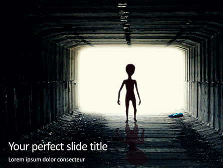 Technology and Science: Spooky silhouette of alien in tunnel PowerPoint Vorlage #16389