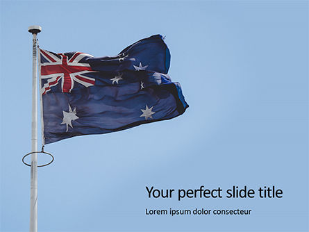 Flags/International: australian flag waving on the wind - 無料PowerPointテンプレート #16392
