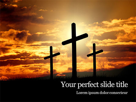 Religious/Spiritual: Three Crosses On Hill Gratis Powerpoint Template #16395