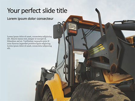 Utilities/Industrial: Yellow Excavator Close-up Front Side View PowerPoint Template #16396