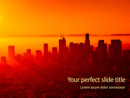 Construction: Plantilla de PowerPoint gratis - urban sunset skyline #16402