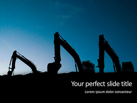 Utilities/Industrial: Three Excavators Work On Construction Site At Sunset PowerPoint Template #16407