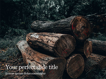 Careers/Industry: Modello PowerPoint - Pile of wood logs #16409