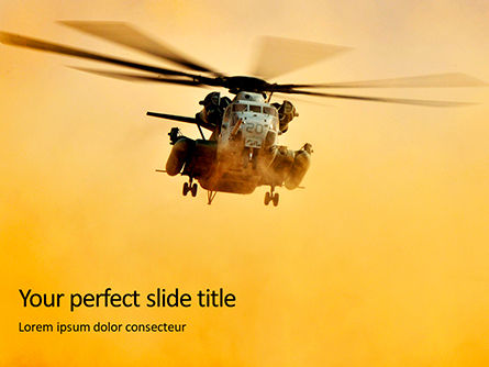 Military: Helicopter in yellow sky PowerPoint Vorlage #16411