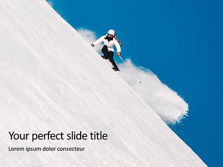 Sports: Templat PowerPoint Skier Skiing Downhill During Sunny Day In High Mountains #16419