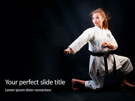 Sports: Modello PowerPoint Gratis - A martial arts woman in white kimono with black belt #16421