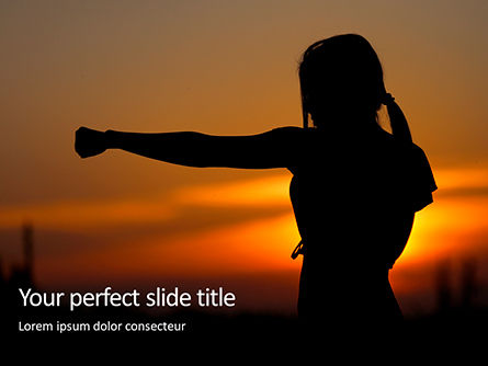 Sports: Modello PowerPoint - Young woman training karate on sunset #16422