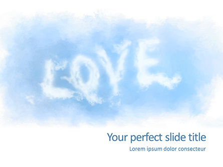Holiday/Special Occasion: Plantilla de PowerPoint gratis - love shaped clouds #16427