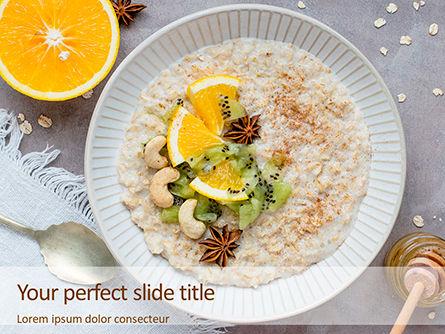 Food & Beverage: Oatmeal with orange and cashews免费PowerPoint模板 #16433