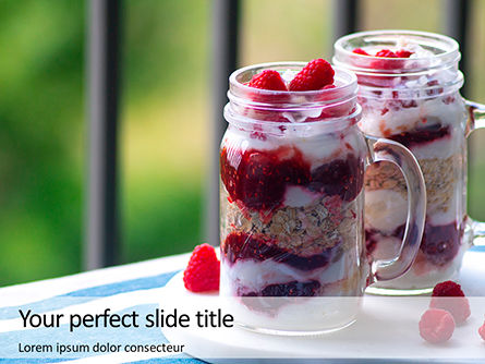 Food & Beverage: Overnight Oats with Raspberries in Jars Presentation #16434