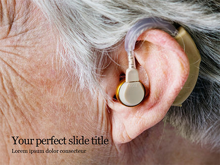 Medical: elder person with hearing aids - 無料PowerPointテンプレート #16436