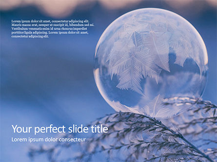 Nature & Environment: Modelo do PowerPoint - a frozen soap bubble on a branch #16438