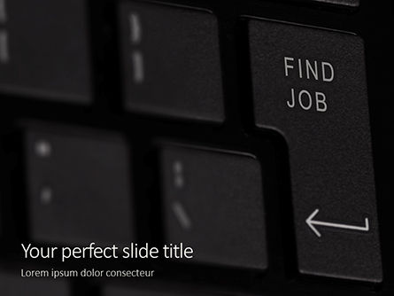 Careers/Industry: Find job button on black keyboard免费PowerPoint模板 #16452
