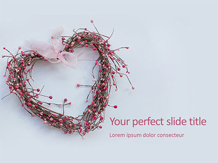 Holiday/Special Occasion: Modelo de PowerPoint Grátis - heart shaped wreath #16456