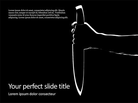 Legal: Silhouette of the hand holding a big sharp knife PowerPoint Vorlage #16464