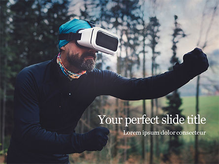 Technology and Science: man uses a virtual reality headset in the forest - 無料PowerPointテンプレート #16467