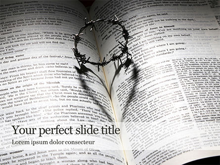 Religious/Spiritual: Crown Of Thorns On Bible Gratis Powerpoint Template #16479