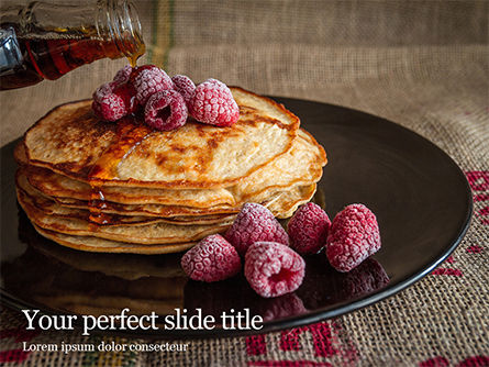Food & Beverage: Templat PowerPoint Gratis Pancakes Raspberry Presentation #16485