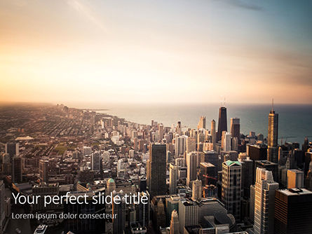 Construction: Plantilla de PowerPoint gratis - chicago downtown aerial view presentation #16494