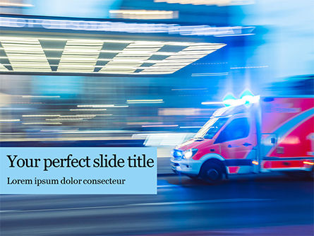 Medical: Ambulance Running With Lights And Sirens On A Street Presentation Gratis Powerpoint Template #16507