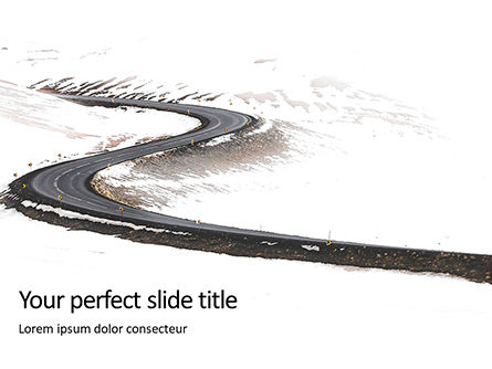 Construction: Plantilla de PowerPoint - winding winter road presentation #16513