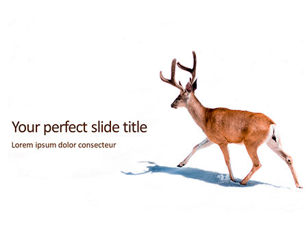 Nature & Environment: Plantilla de PowerPoint gratis - deer in the winter field presentation #16518