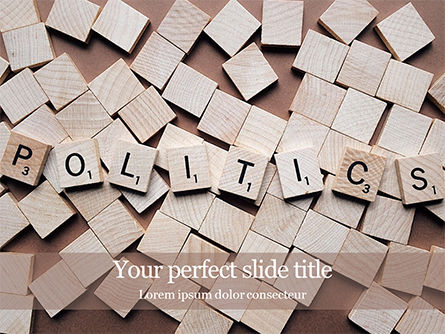 "Careers/Industry: Plantilla de PowerPoint - the word ""politics"" on wooden cubes presentation #16525"