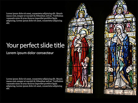 Religious/Spiritual: Stained Glass Window Presentation Gratis Powerpoint Template #16549