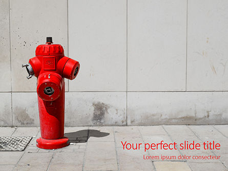 Careers/Industry: Modello PowerPoint Gratis - A deep red fire hydrant in front of a wall presentation #16564