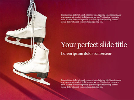 Sports: Templat PowerPoint Hanged Pair Of White Leather Figure Skates On Red Wall Presentation #16568