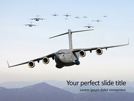 Military: 무료 파워포인트 템플릿 - united states air force c-17 globemaster in the sky presentation #16574