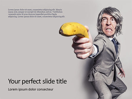 Food & Beverage: Modelo de PowerPoint Grátis - man in a suit holding banana like a gun presentation #16580