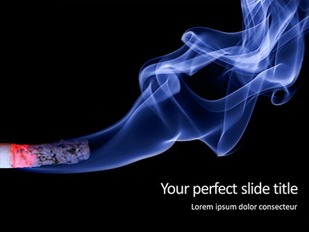 Medical: Burning Cigarette With Smoke On Black Background Presentation Gratis Powerpoint Template #16582