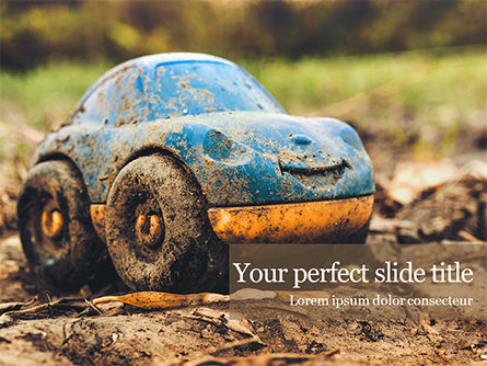 Cars and Transportation: Toy car in mud presentation Kostenlose PowerPoint Vorlage #16594