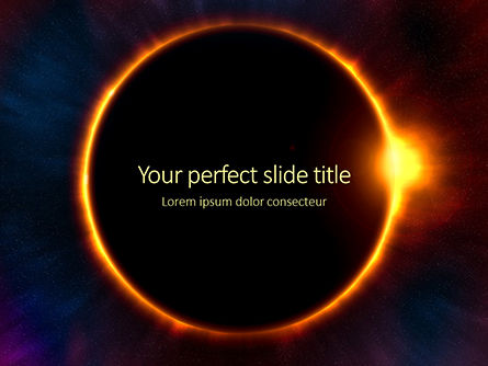 Technology and Science: the moon covers the sun in a beautiful solar eclipse presentation - 無料PowerPointテンプレート #16601