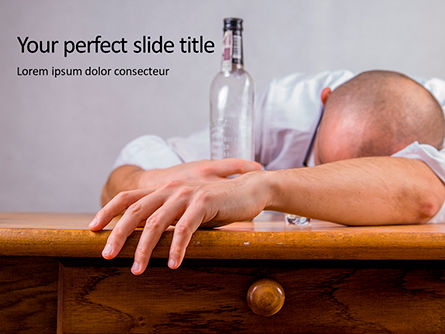 People: Modèle PowerPoint gratuit de drunk bald man lying or sleeping on table presentation #16608