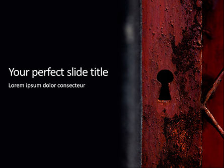 Abstract/Textures: keyhole in a rusty gate presentation - 無料PowerPointテンプレート #16628