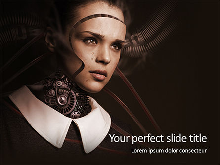 Technology and Science: futuristic female android presentation - 無料PowerPointテンプレート #16634