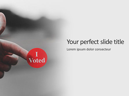 General: I voted sticker on a man's finger presentation Kostenlose PowerPoint Vorlage #16638