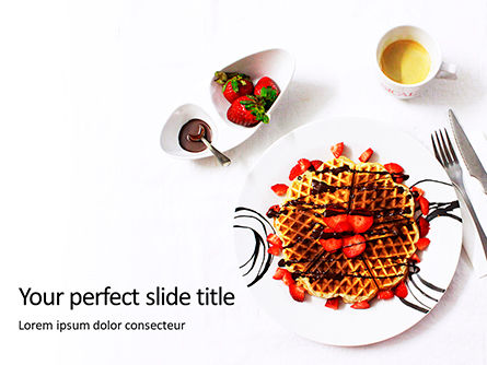 Food & Beverage: Belgium waffles with chocolate sauce and strawberries presentation免费PowerPoint模板 #16640