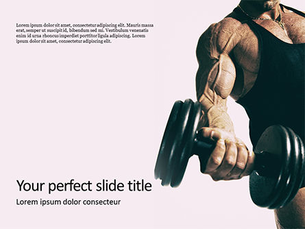 Sports: Hand Holding Black Dumbbell Presentation Gratis Powerpoint Template #16642