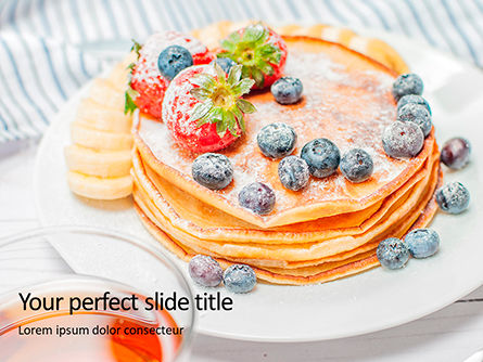 Food & Beverage: Homemade pancakes with berries presentation免费PowerPoint模板 #16646