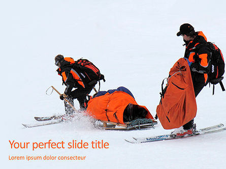 Sports: Rescue sled in the snow presentation Kostenlose PowerPoint Vorlage #16648