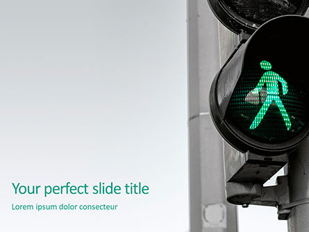 Cars and Transportation: Green pedestrian traffic light presentation Kostenlose PowerPoint Vorlage #16649