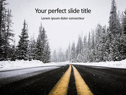 Nature & Environment: Low Angle View Of Stripes On Snowy Mountain Road Presentation Gratis Powerpoint Template #16651