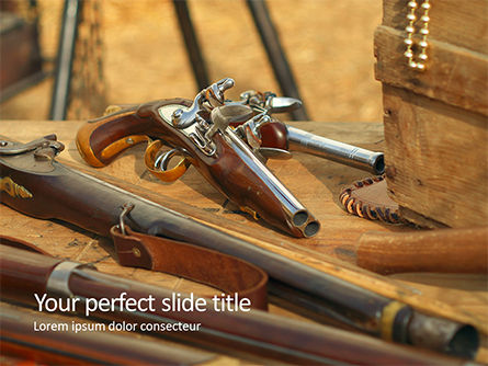 Military: Old Wooden Guns And Pistols Presentation Gratis Powerpoint Template #16663
