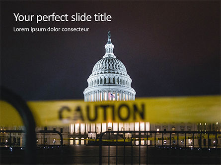 America: Us Capitol Hill During Nighttime With Caution Tape Presentation Gratis Powerpoint Template #16664