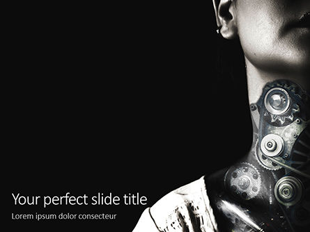 Technology and Science: cogs inside human neck presentation - 無料PowerPointテンプレート #16668