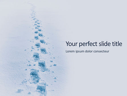 Nature & Environment: Footsteps In Snow Presentation Gratis Powerpoint Template #16671