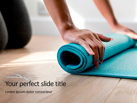 Sports: Young Yoga Woman Rolling Her Green Mat Presentation Gratis Powerpoint Template #16675